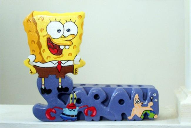 Art: Sponge Bob Pencil Holder by Artist Gina Stern