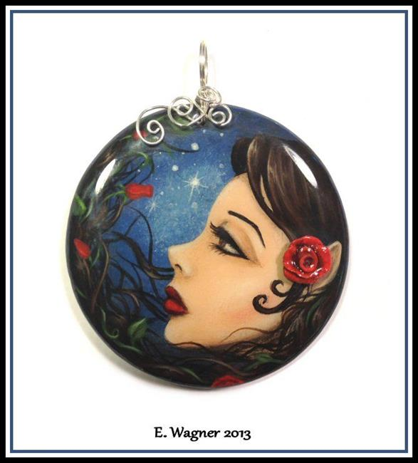 Art: Goddess Of The Crimson Rose Pendant by Artist Elaina Wagner