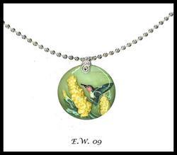 Art: Foxglove & Hummingbird Necklace by Artist Elaina Wagner