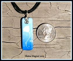 Art: Blue White Flower Ceramic Pendant by Artist Elaina Wagner