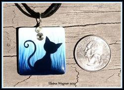 Art: Cat Silhouette Pendant 02 by Artist Elaina Wagner