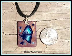Art: Blue Butterfly Shell Pendant by Artist Elaina Wagner