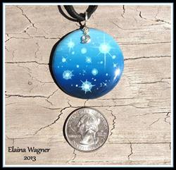 Art: Blue Star Wood Pendant by Artist Elaina Wagner