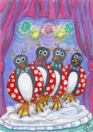 Art: Lady Bug Penguin's Barber Shop Quartet by Artist Kim Loberg