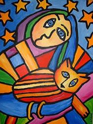 Art: Woman With Striped Cat by Artist Lindi Levison