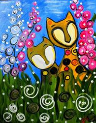 Art: Curious Cats in the Foxgloves by Artist Elizabeth Paige VanSickle