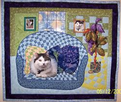 Art: Taxi cat quilt by Artist Karin Elizabeth Weiss