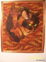 Art: Tally cat quilt by Artist Karin Elizabeth Weiss