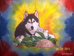Art: Sweet Pea memory quilt by Artist Karin Elizabeth Weiss