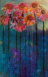 Art: Sun Drenched Coneflowers by Artist Alma Lee