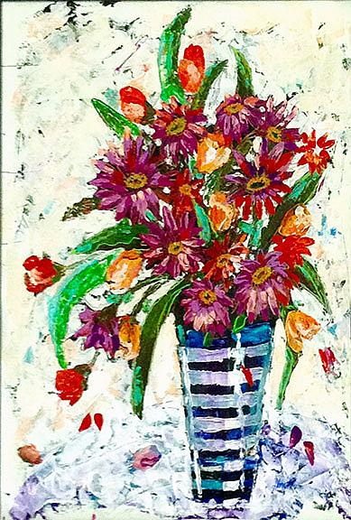 Art: Coneflowers and Tulips by Artist Alma Lee
