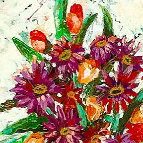 Detail Image for art Coneflowers and Tulips