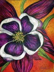 Art: Columbine a Flower of Remembrance by Artist Alma Lee