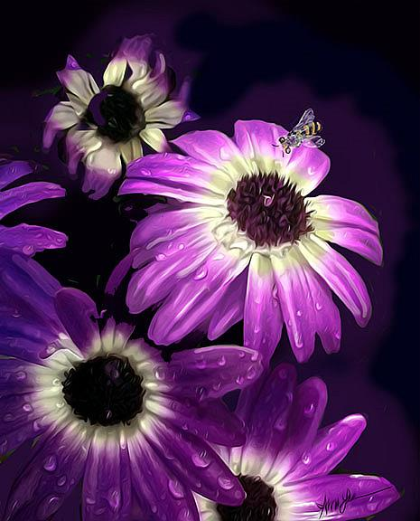 Art: Purple Petals with Bee by Artist Alma Lee