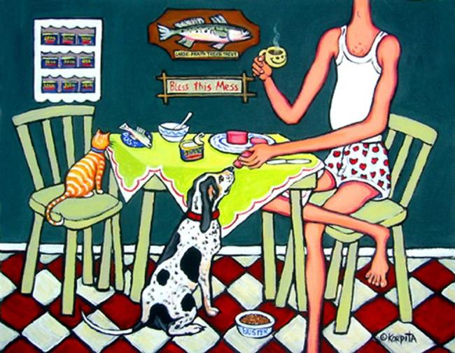 Art: Jack's Cat Would Eat No Trout, His Dog Would Eat No Spam by Artist Rebecca Stringer Korpita