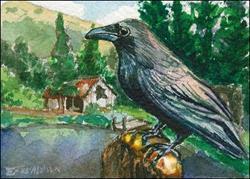 Art: Crow Creek Mine Watcher by Artist Erika Nelson