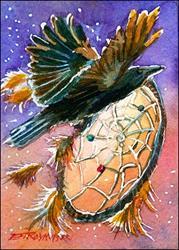 Art: Crow Dreamcatcher by Artist Erika Nelson
