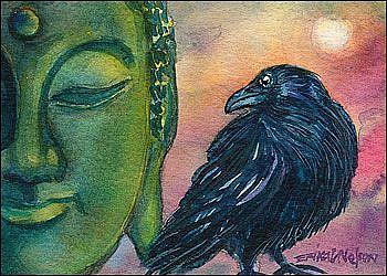 Art: Crow Secret of the Sun by Artist Erika Nelson