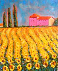 Art: EuroLandscapes: Cypress n' Sunflowers At Valle de Lot, France by Artist Susi Franco