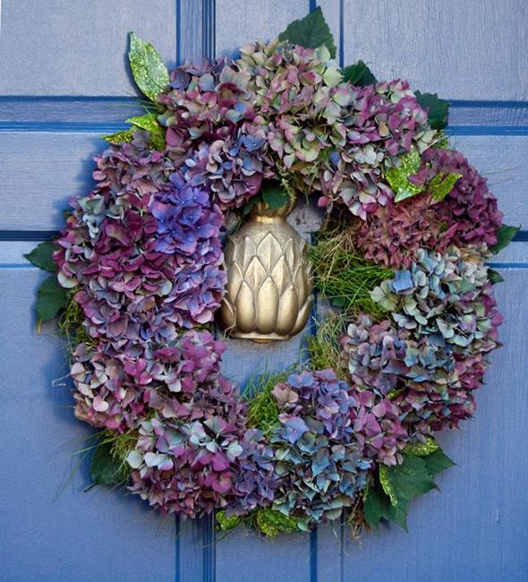 Art: Hydrangea Wreath by Artist Gabriele M.