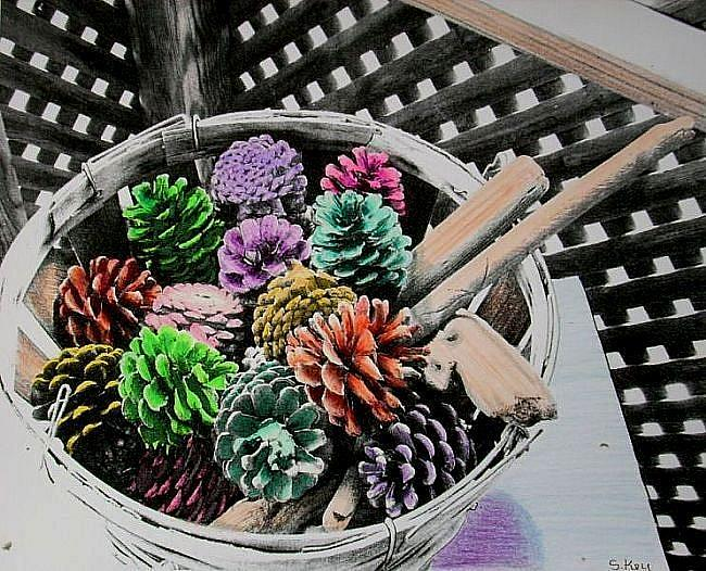 Art: Colorful Conifers by Artist Sherry Key