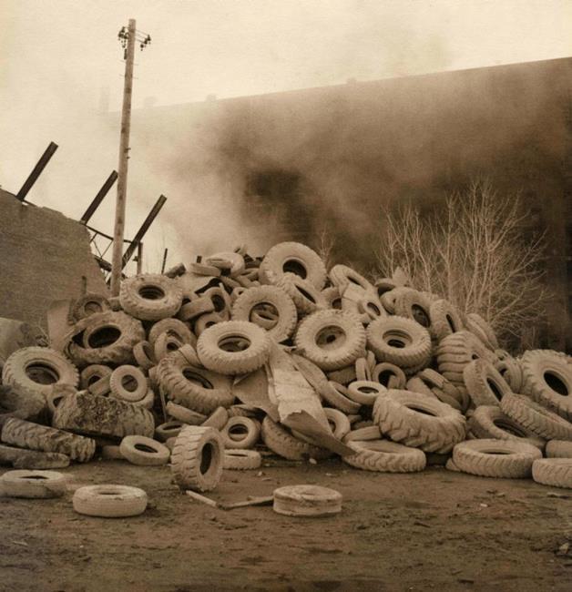 Art: Fire in a Chicago Tire Factory #2 by Artist Virginia Ann Zuelsdorf