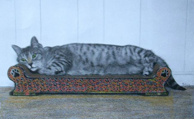 Art: Green Eyed Cat On Orange Sofa by Artist Sherry Key