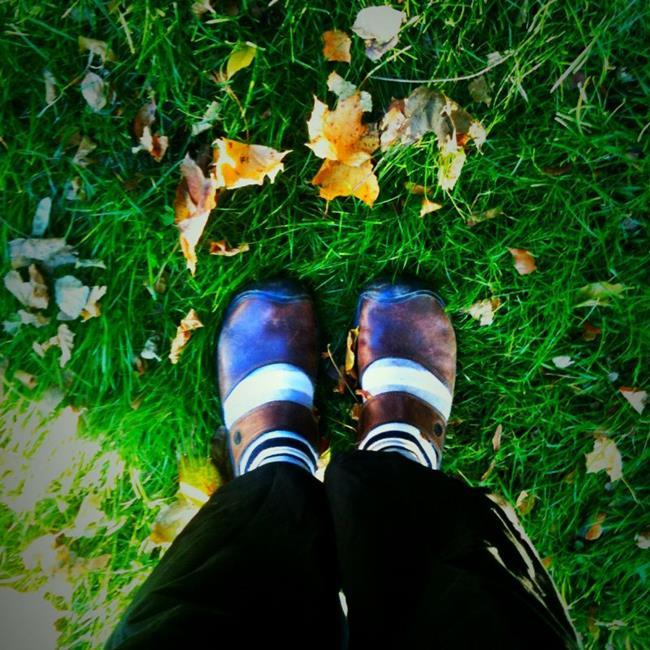 Art: Self-Portrait with Keens & Stripey Socks by Artist Amie R Gillingham