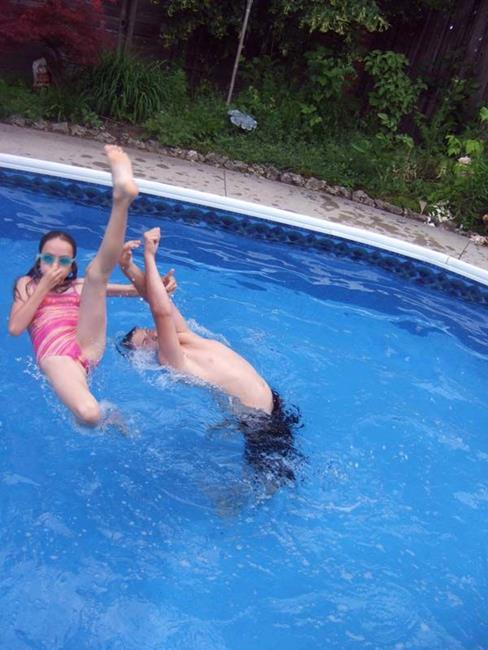 Art: Twisting by the pool by Artist Noelle Hunt