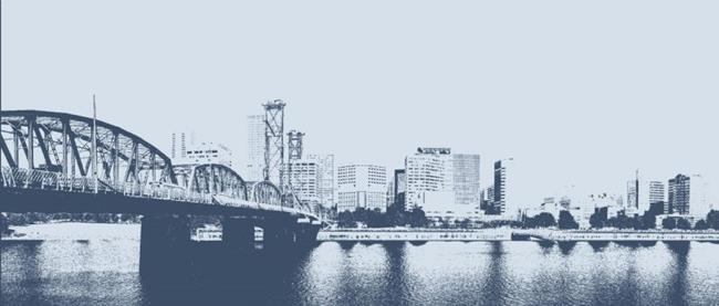 Art: Portland, Blue City by Artist Carissa M Martos