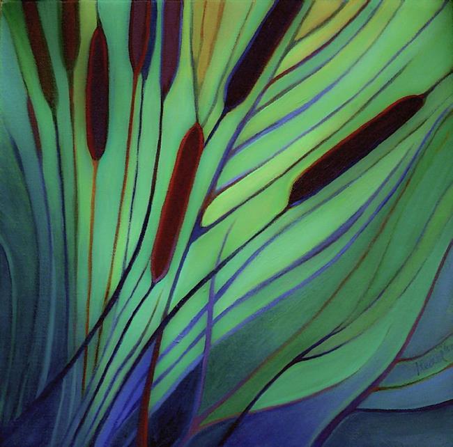 Art: Along the Bank / Cattails II by Artist Elizabeth Fiedel