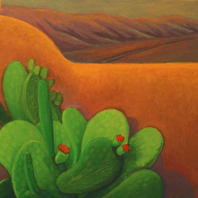 Art: Evening Cactus with Adobe by Artist Elizabeth Fiedel