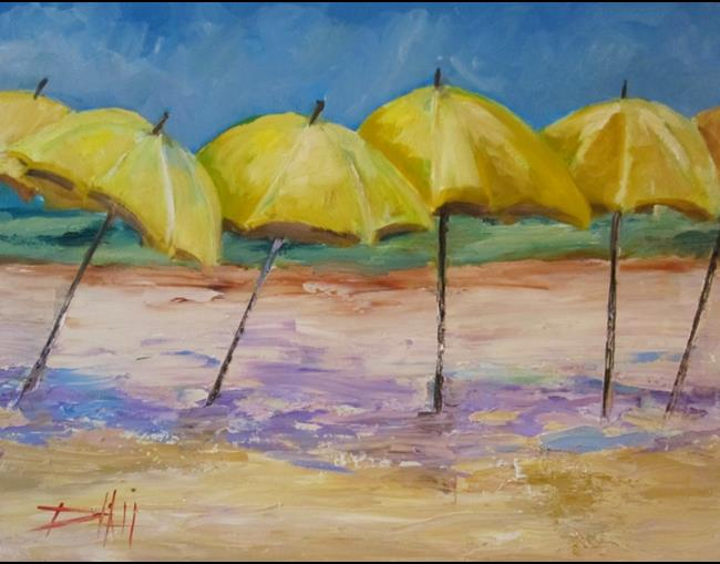 Art: Yellow Beach Umbrellas sold by Artist Delilah Smith