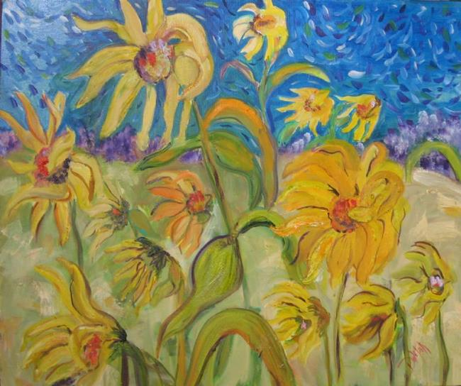 Art: Sunflowers in the Wind SOLD by Artist Delilah Smith