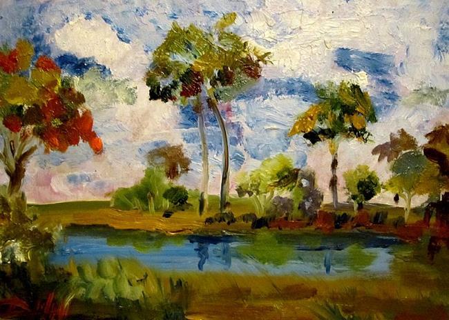 Art: Tropical Landscape -sold by Artist Delilah Smith