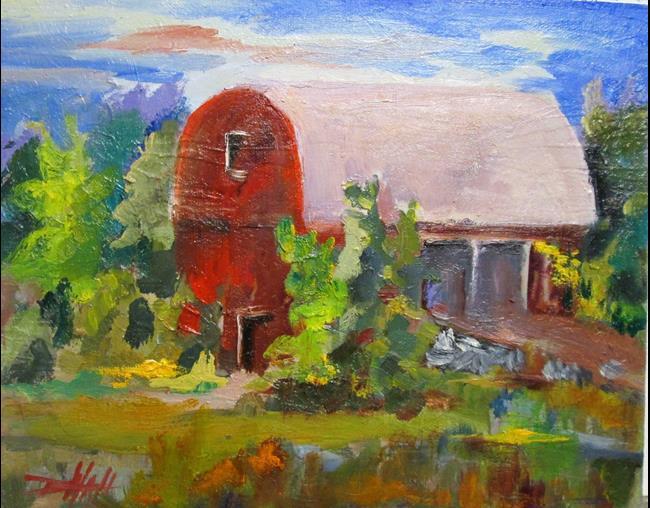 Art: Red Barn by Artist Delilah Smith