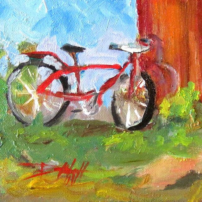 Art: Red Bike by Artist Delilah Smith