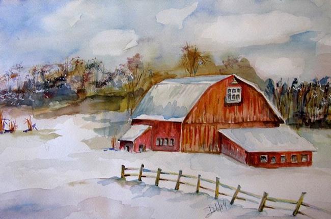 Art: Winter Farm by Artist Delilah Smith