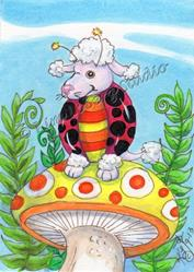 Art: Sitting Pretty In Pink - Poodle Lady Bug by Artist Kim Loberg