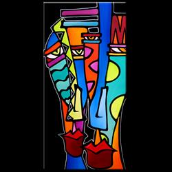 Art: Original Abstract Pop Art Stand and Deliver by Artist Thomas C. Fedro