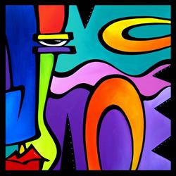 Art: Pop 378 3030 Original Abstract Pop Art Obstacles by Artist Thomas C. Fedro