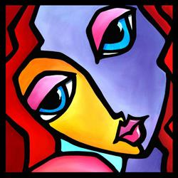Art: Pop 383 2424 Original Abstract Pop Art It Girl by Artist Thomas C. Fedro