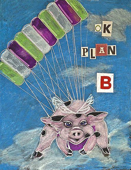 Art: Plan B Flying Pig by Artist Alma Lee