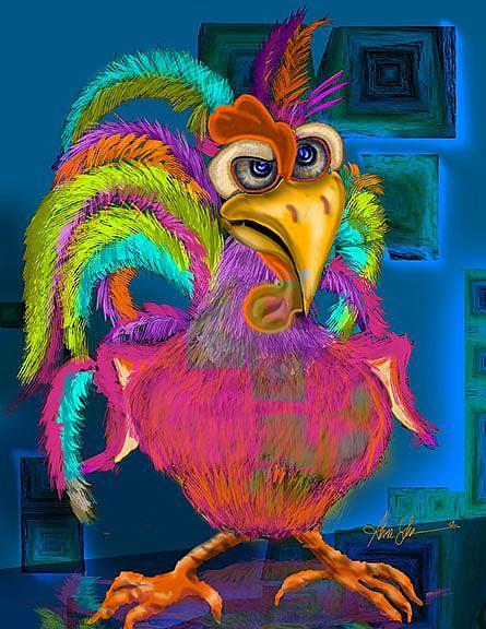 Art: Night Shift Rooster by Artist Alma Lee