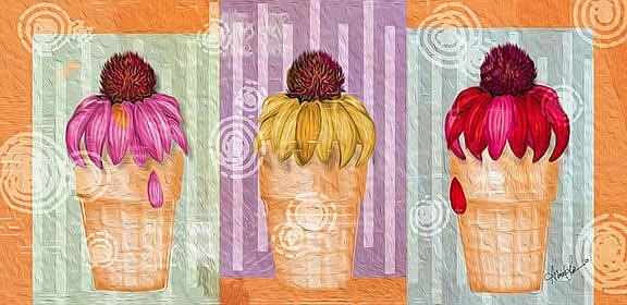 Art: Cone Flowers by Artist Alma Lee