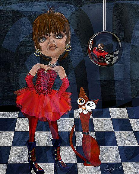 Art: Matilda and Her Cat by Artist Alma Lee