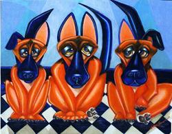 Art: Shepherd Trio by Artist Alma Lee