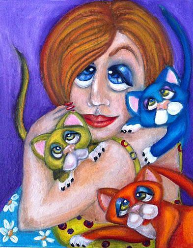 Art: Cat Lover SOLD by Artist Alma Lee