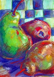 Art: Checkerboard series: 3 colored pears by Artist Kathryn Delany