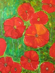 Art: Poppy Field-sold by Artist Delilah Smith